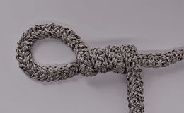 Loop knot rope string. Ship`s rope Stock Images