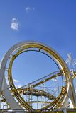 Loop the loop. Rollercoaster ride on Brighton pier stock photos
