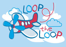 Loop the loop. Vector illustration of an air plane flying in the sky Royalty Free Stock Photo