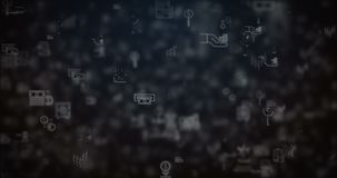 Loop moved finance icons background. Loopable animation moved finance icons on white background vector illustration