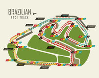 Loop race track of formula one. Brazil grand prix. Loop isolated race track of formula one for Brazil grand prix. Top view on track or racetrack for motosport in Stock Image
