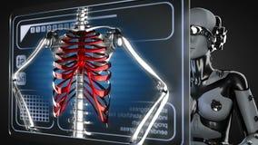 Loop robot woman manipulatihg hologram display stock video footage