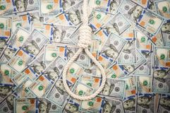 A loop of rope on background of dollars. top view stock photo