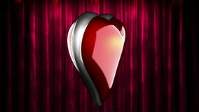 Loop rotate heart at curtain stage. Loop rotate heart at curtain  stage stock footage