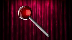 Loop rotate red lollipop at curtain stage stock footage