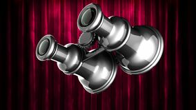 Loop rotate retro binocular at curtain stage stock footage