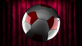 Loop rotate soccer ball at curtain stage stock footage