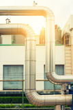 Loop steam pipeline, Steam pipe insulation., Steam insulation. Royalty Free Stock Image