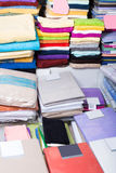 Loop towels in textile shop. The picture of loop cottony towels in textile shop royalty free stock photography