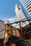 Loop tracks and sky scrapper. Loop train tracks and downtown as the sun lights up the city.  Chicago, Illinois Royalty Free Stock Image