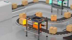 Loop transmitting of packaging box on the conveyor belt, 3d rendering