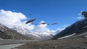 Loop with a UFO fleet in the Himalayan mountains. stock video