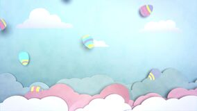 Loop video. 2D animation of paper cutout clouds in a blue sky