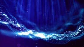 Loopable提取与景深,光焕发闪闪发光和数字式元素的微粒背景 波浪蓝色 影视素材