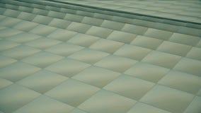 loopable现代抽象金属栅格的表面转动鲜绿色的立方体波浪