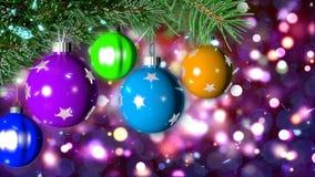 Loopable bakgrund för jul med trevliga bollar vektor illustrationer