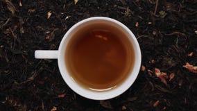 Loopable Cinemagraph de la taza de té negro entre las hojas de té secas Visión superior almacen de metraje de vídeo