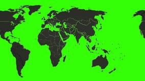 Loopable 3d animatie van een zwarte wereldkaart op het groene scherm Van links naar rechts het scrollen vector illustratie
