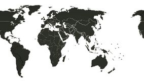 Loopable 3d animation of a black world map on white background. Scrolling from left to right.  vector illustration