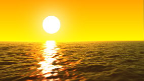 Loopable FullHd 3d sea with great sunset and waves stock footage