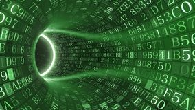 Green tunnel made of hexadecimal symbols. Internet service, information technology or big data related 3D rendering. Loopable green tunnel made of hexadecimal Royalty Free Stock Photo