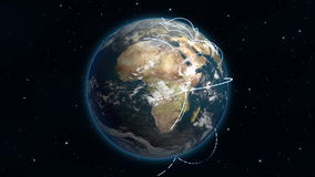 Loopable Growing Global Network. High Quality 4K animation of a global network growing across a photo-real rotating planet earth. The background stars gently stock video