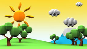 Loopable Idyllic Scenery Low Poly Animation stock video