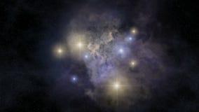 Loopable nebula rotation. Seamlessly loopable animation of spinning around cosmic nebula stock footage
