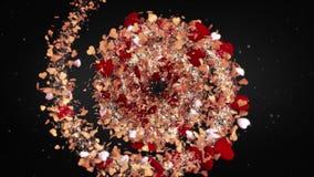Loopable rote Herzen des Valentinsgruß ` s Tagesliebes-Hintergrundes, perfekter Hintergrund für loversб drehende KreisSpirale de stock video footage