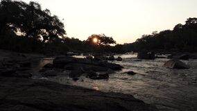 Loopable sunset over river with sun behind tree