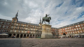 Loopable Time Lapse with blurred tourists in Plaza Mayor, Madrid , Spain. Wide angle time-lapse of Plaza Mayor in Madrid , Spain. 4k Time Lapse with blurred stock video