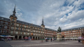 Loopable Time Lapse with blurred tourists in Plaza Mayor, Madrid , Spain. Wide angle time-lapse of Plaza Mayor in Madrid , Spain. 4k Time Lapse with blurred stock footage