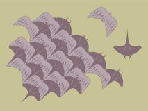 Loopable Vector of Manta Ray and Bird Modules For Tessellation Pattern Royalty Free Stock Images
