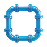 Loopback blue pipe on the white background Royalty Free Stock Image