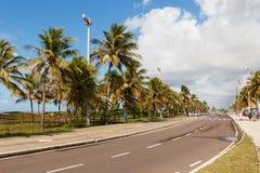 Loopbrug Passarela DE caranguejo op strand Orla da Atalaia, Aracaj stock foto's