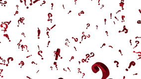 Looped animated background with chaotic spinning red 3d question marks. Seamless loop.