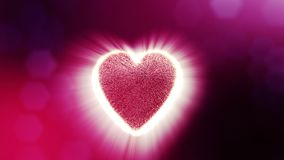 Looped 3d animation of glow particles form 3d red heart with depth of field and bokeh. For valentines day or wedding. Loop 3d animation of glow particles form 3d stock video footage