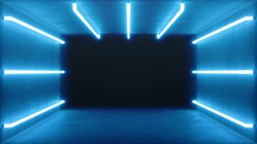 Looped 3D animation, seamless abstract blue room interior with blue glowing neon lamps, fluorescent lamps. Futuristic