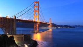 Looped day to night timelapse of Golden Gate Bridge, San Francisco 4K stock video