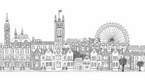 Looped hand drawn footage of London city stock footage