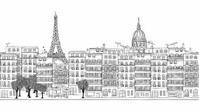 Looped hand drawn footage of Paris stock video