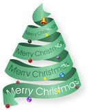 Looped ribbon Christmas tree with decorations Stock Photography