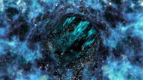 Wormhole travel looped in blue-shifted colors stock video footage
