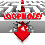 Loophole Arrow Crashing Through Maze Avoid Paying Taxes Cheating. Loophole word in 3d letters on a maze with arrow crashing through the wall to illustrate Royalty Free Stock Photo