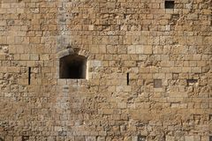 Loophole in castle close-up. Cyprus Paphos Stock Photo