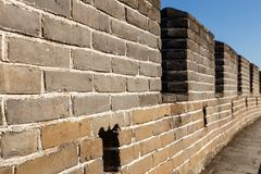 Loophole in the great wall of china. Brick wall fragment stock photos