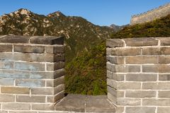 Loophole in the great wall of china. Mountain View stock photo