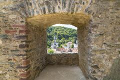 Loophole of a medieval castle. Close up. Castle Eppstein, Germany royalty free stock images
