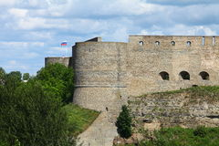 Loopholes on fortress wall. View of the Ivangorod Fortress Stock Photo