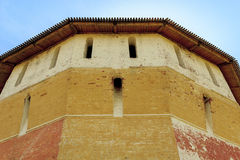 The loopholes of the old Russian fortress tower. This is a close-up details of Russian medieval fortifications - loopholes fortress tower of the Spaso-Prilutsky Royalty Free Stock Photos